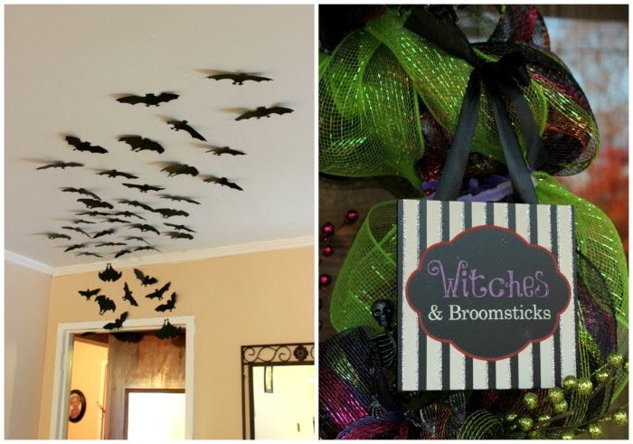bats on ceiling and a witch sing on a wreath.
