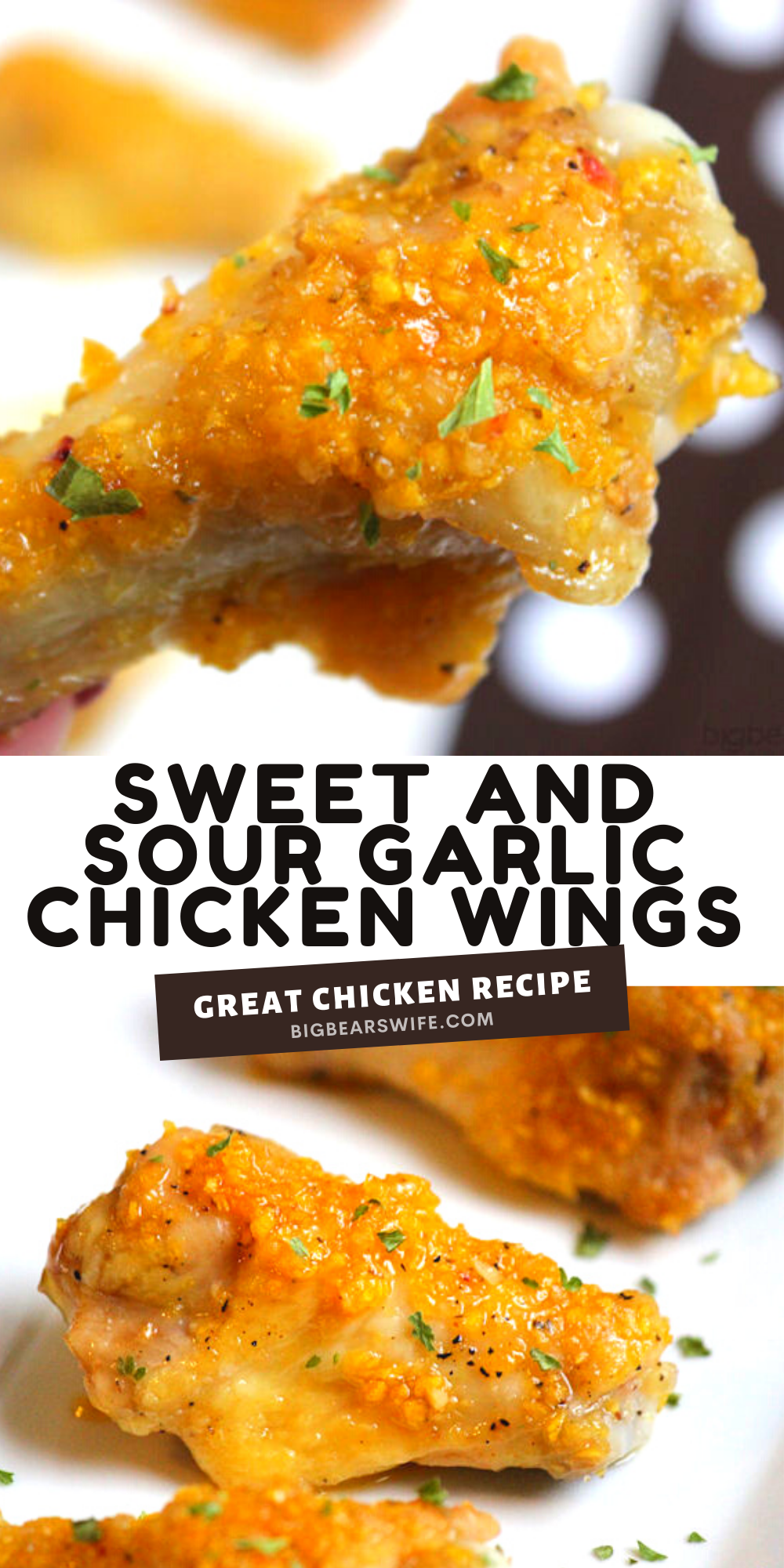 """PerfectSweet and Sour Garlic Chicken Wings for anytime of the year! Make them on Halloween and call them """"bat wings"""" via @bigbearswife"""