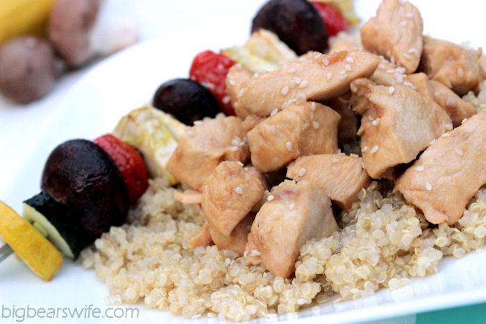 Teriyaki Chicken & Vegetable Kabobs Over Quinoa #OurOctoberChallange