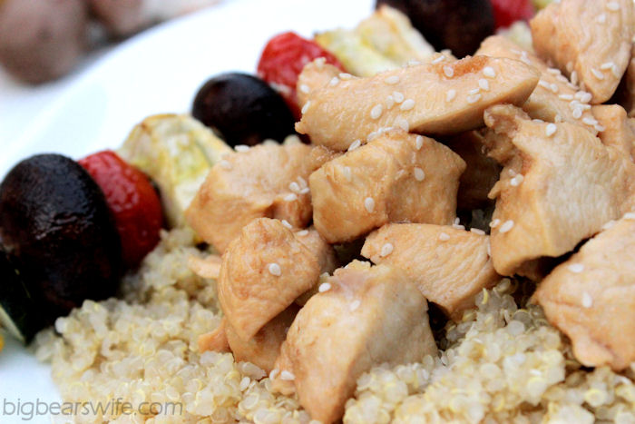 Teriyaki Chicken & Vegetable Kabobs Over Quinoa | BigBearsWife.com #OurOctoberChallange