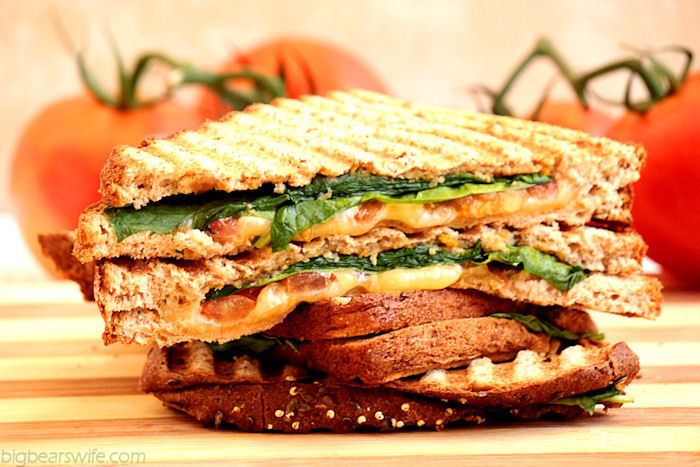 Spinach, Tomato and Gouda Panini with Apple Butternut Squash Spread #OurOctoberChallenge