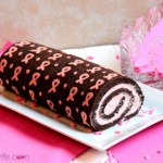 Chocolate Pink Ribbon Swiss Roll Cake – Free Ribbon Template