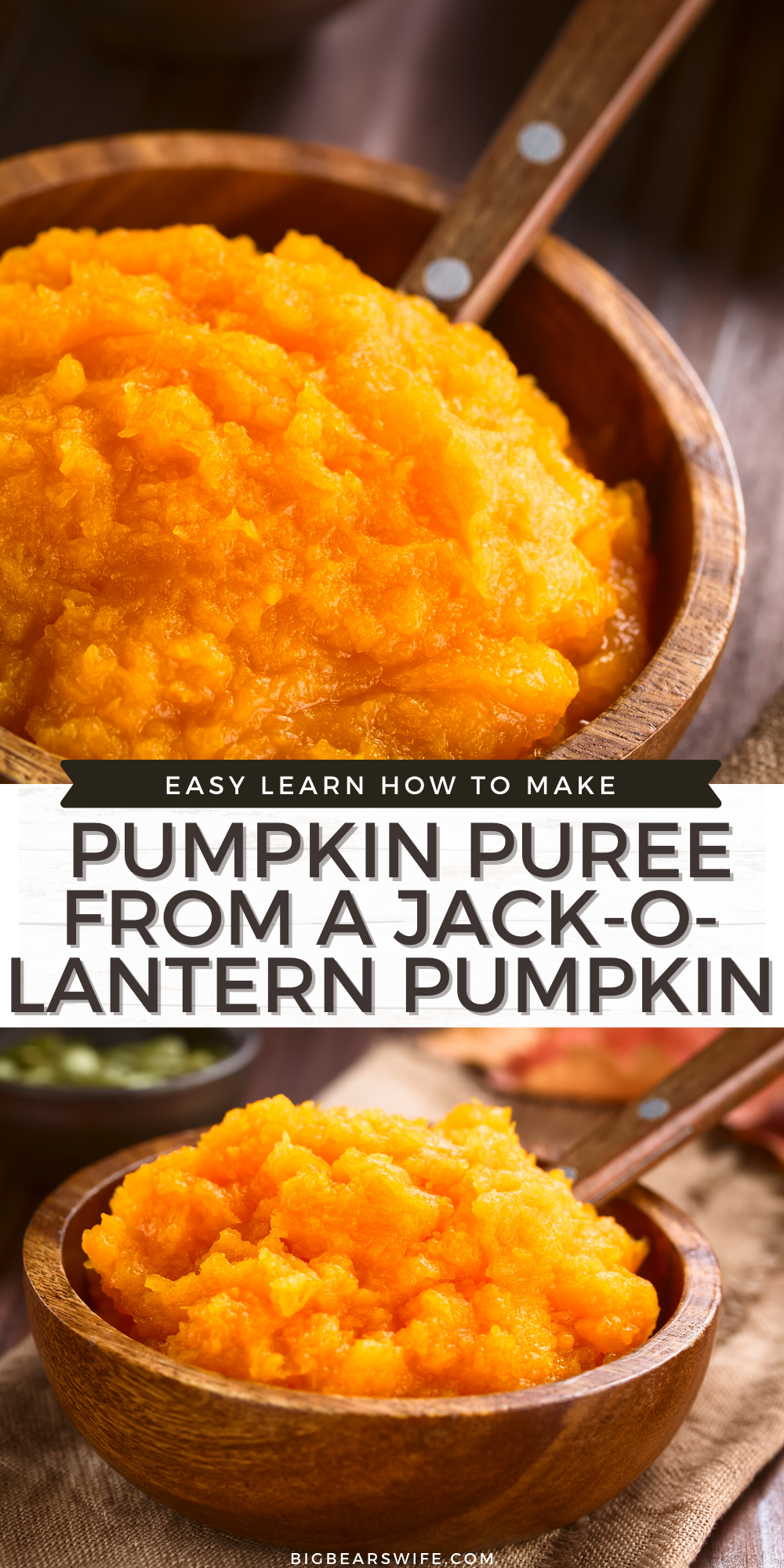 Want to make some homemade Pumpkin Desserts? Turn those un-carved pumpkins into homemade pumpkin puree! Perfect for Pumpkin Pies, Pumpkin Bread, Pumpkin Cookies and more!  This post will teach you how to make Homemade Pumpkin Puree from Jack-O-Lantern style pumpkins.