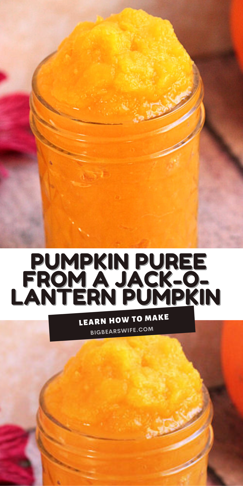 Want to make some homemade Pumpkin Desserts? Turn those un-carved pumpkins into homemade pumpkin puree! Perfect for Pumpkin Pies, Pumpkin Bread, Pumpkin Cookies and more! This post will teach you how to make Homemade Pumpkin Puree from Jack-O-Lantern style pumpkins. via @bigbearswife