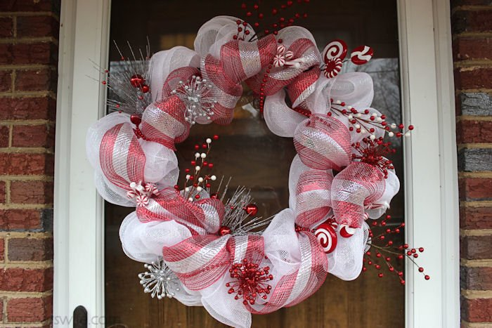 candy cane christmas deco mesh wreath tutorial bigbearswifecom