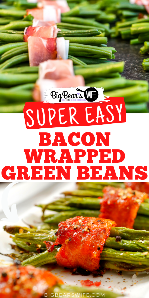 These tasty Bacon Wrapped Green Beans are really easy to make and are a great side dish! Three ingredients and less than an hour until  and you've got a super easy side dish recipe! via @bigbearswife