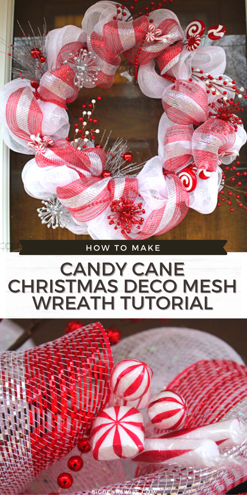 Candy Cane Christmas Deco Mesh Wreath - the perfect winter/Christmas Deco mesh Wreath - Plus a link to my step by step Deco Mesh Tutorial!!  Learn how to make this beautiful Candy Cane Christmas Deco Mesh Wreath for your home with this easy Candy Cane Christmas Deco Mesh Wreath Tutorial! via @bigbearswife