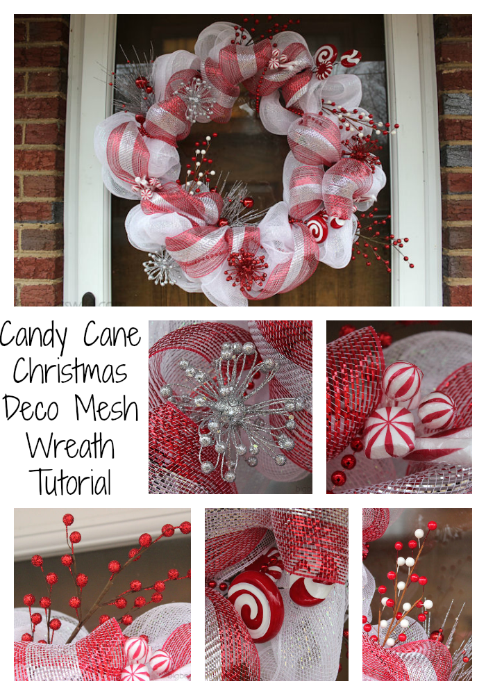 Candy Cane Christmas Deco Mesh Wreath Tutorial - Big Bear\'s Wife