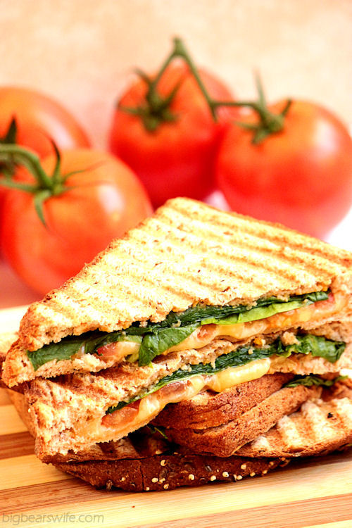 Spinach, Tomato and Gouda Panini with Apple Butternut Squash Spread
