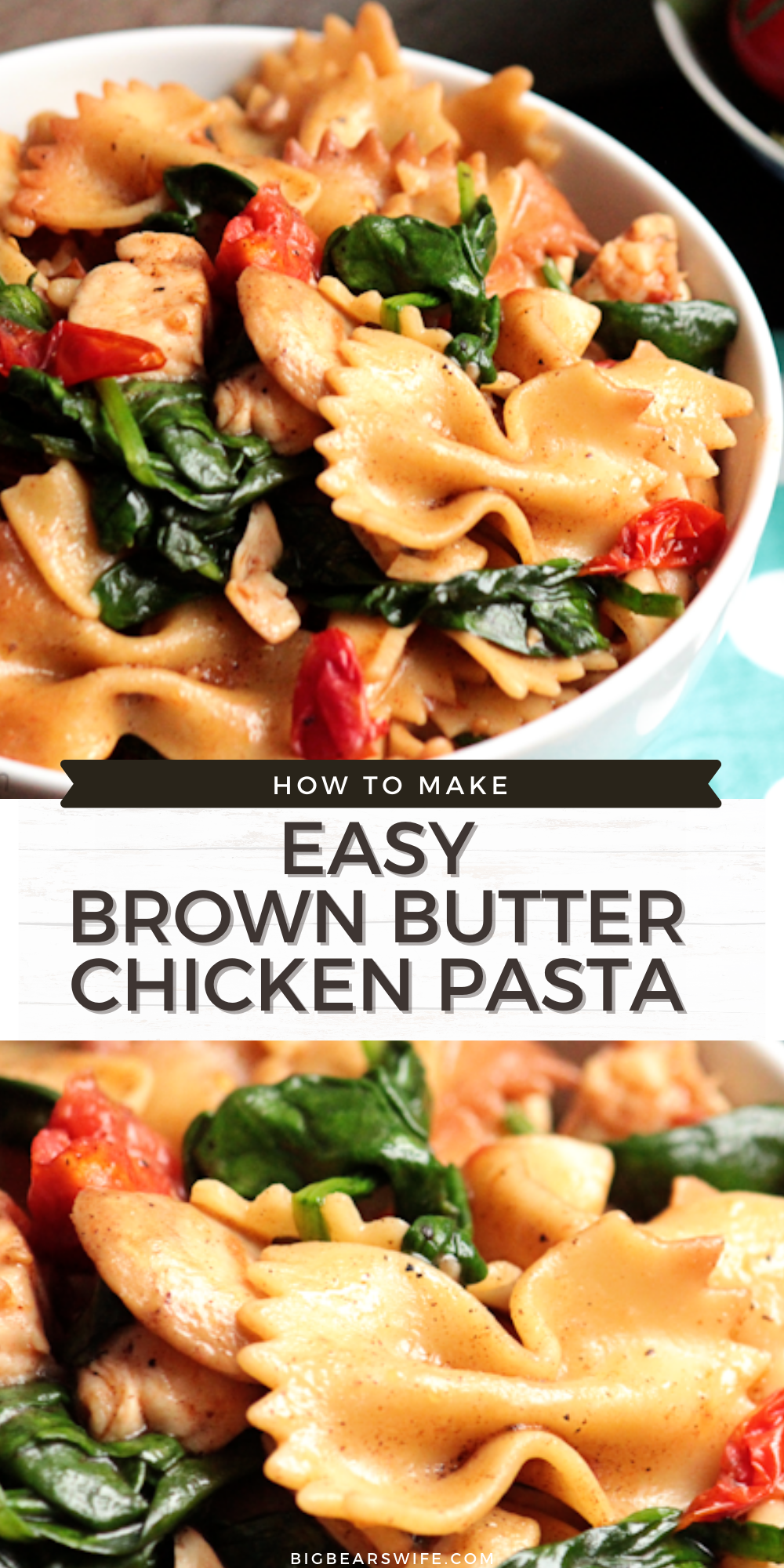 This super easy Easy 30 Minute Brown Butter Chicken Pasta helped me win an award for a cooking competition and it'll help you win dinner time with it's amazing flavor!  via @bigbearswife