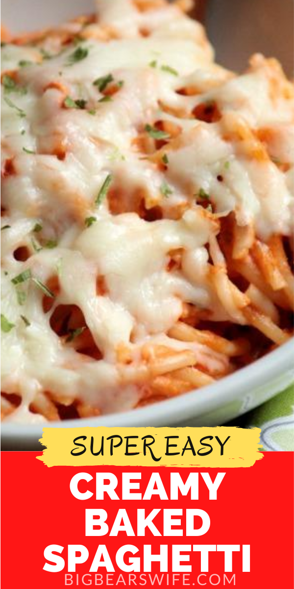 Spaghetti, prepared pasta sauce, mozzarella and cream cheese make a quick and cheesy comfort-food dinner. This Creamy Baked Spaghetti is one easy dinner!