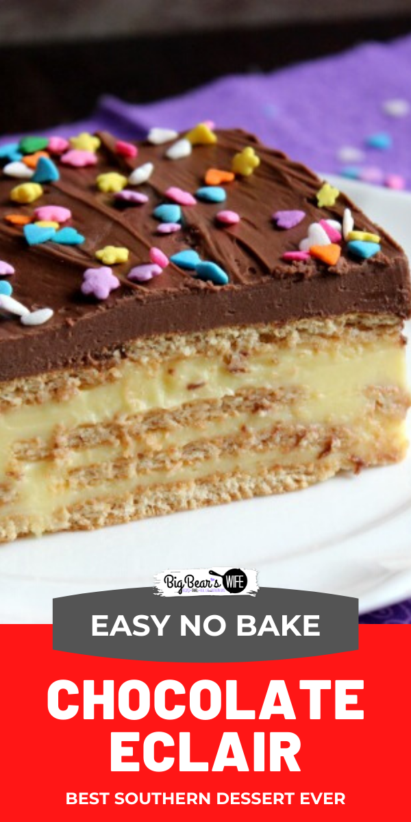 This Chocolate Eclair Dessert is an amazing no bake dessert is a southern favorite! Layers if pudding, graham crackers and chocolate frosting come together for a dessert that you're sure to love! via @bigbearswife