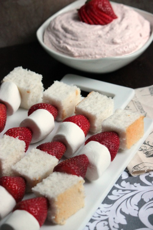 Strawberry ShortCake Kabobs with Strawberry Honey Fruit Dip