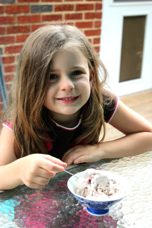 Savannah and her Roasted Strawberry Chocolate Ice Cream