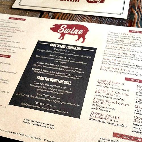 Menu at Swine Southern Table & Bar - Miami, Florida