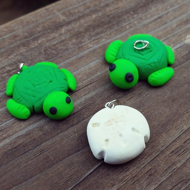 Sea Turtle and Sand Dollar Clay Charm