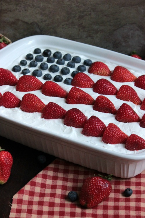 USA Flag Eclair with Blueberries and Strawberries