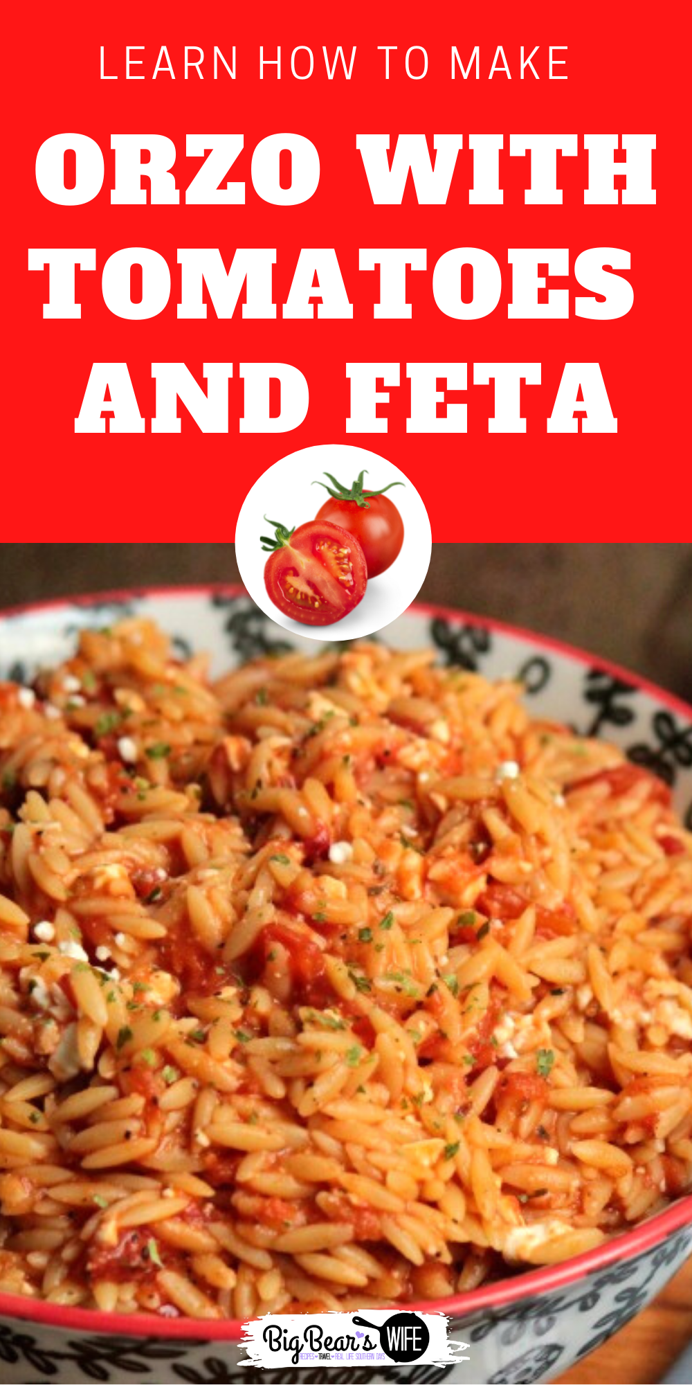 Orzo with Tomatoes and Feta is and would make a great main dish or serve perfectly as a side dish! Thecrushed red pepper flakes make it a little spicy so if you're not too keen on spice you might want to leave those out. via @bigbearswife