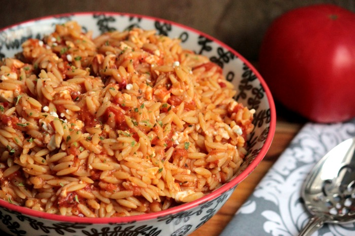 Orzo with Tomatoes and Feta #GreekSummer