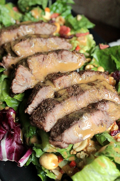 Flat Iron Steak Salad and Homemade Steak Sauce Salad Dressing