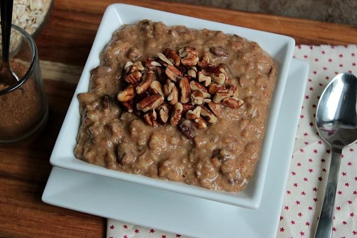 Pumpkin Pecan Slow Cooker Oatmeal #plantprotein @LoveMySilk