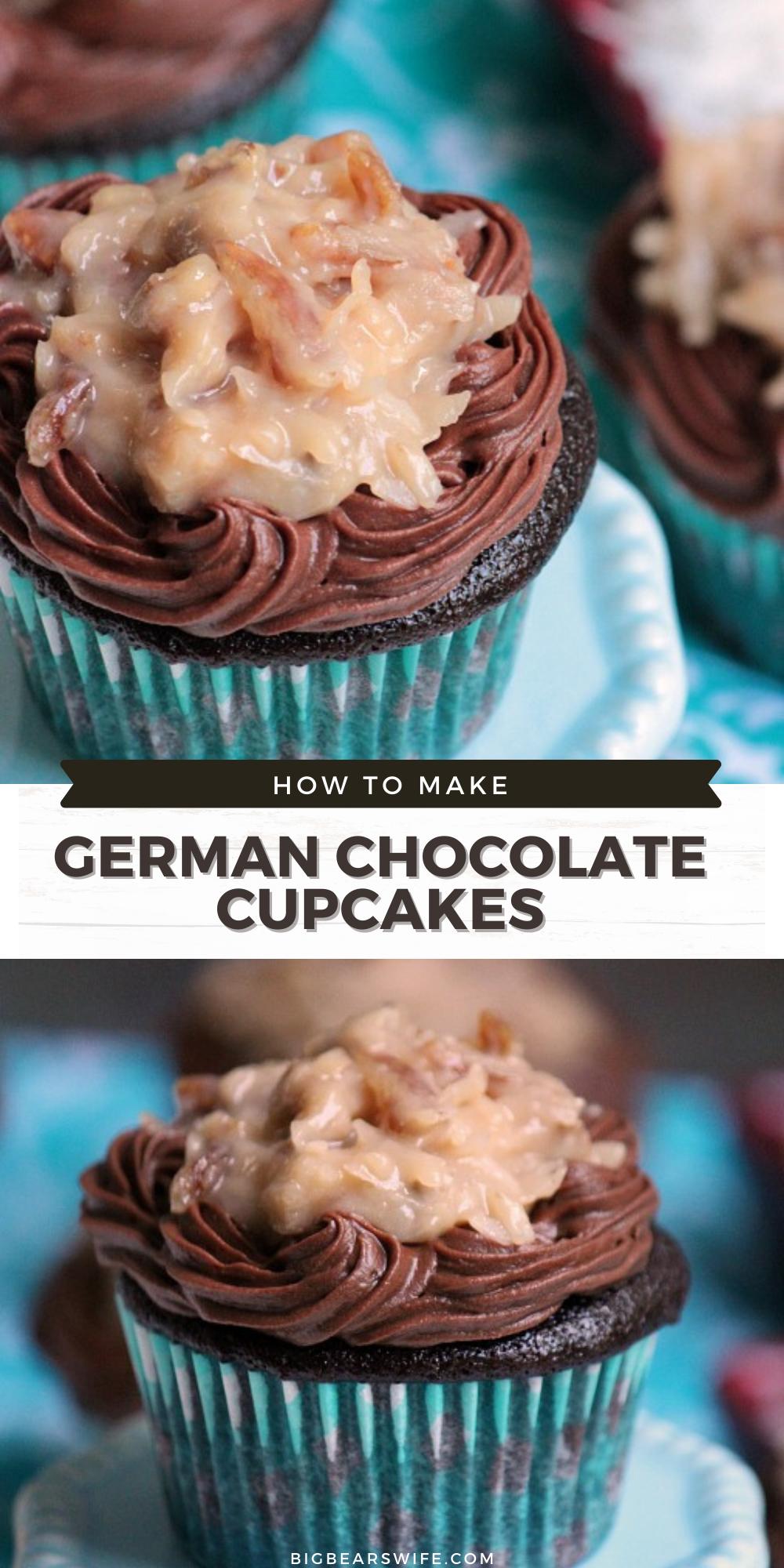 German Chocolate Cupcakes - Homemade Chocolate Cupcakes with the most amazing German Chocolate Coconut Topping! via @bigbearswife