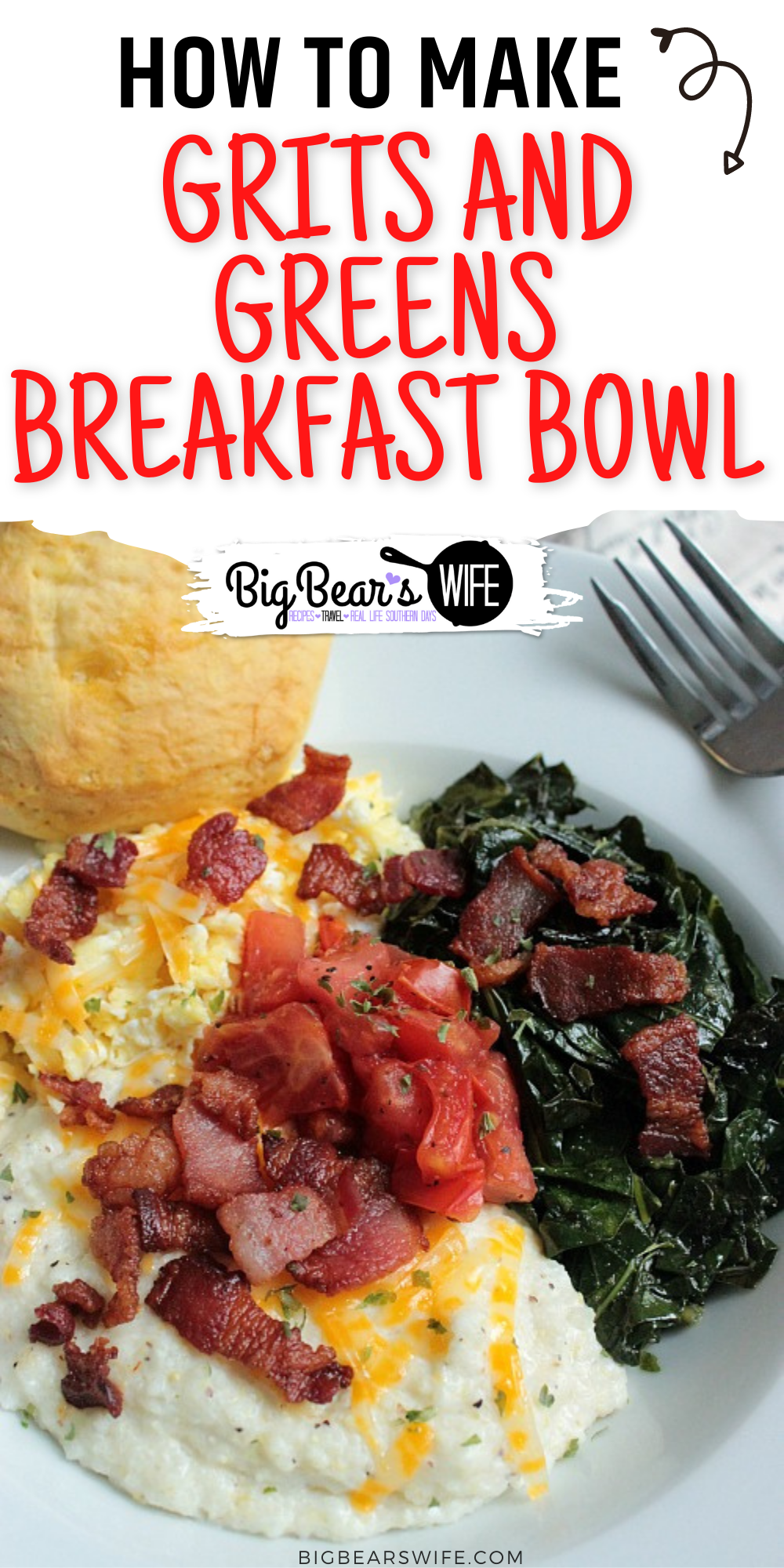 This Perfect Grits and Greens Breakfast Bowl is inspired by a brunch I had at The Corner Kitchen in Ashville, NC years ago! Eggs, Grits, collard greens topped with bacon bits and tomatoes are served with a biscuit for the perfect southern breakfast! via @bigbearswife