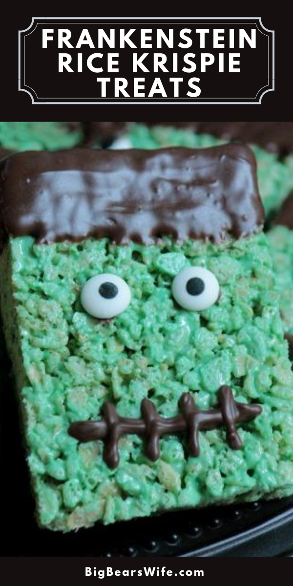 Frankenstein is ready for his close up! Frankenstein Rice Krispie Treats will be sure to bring the party to life! via @bigbearswife