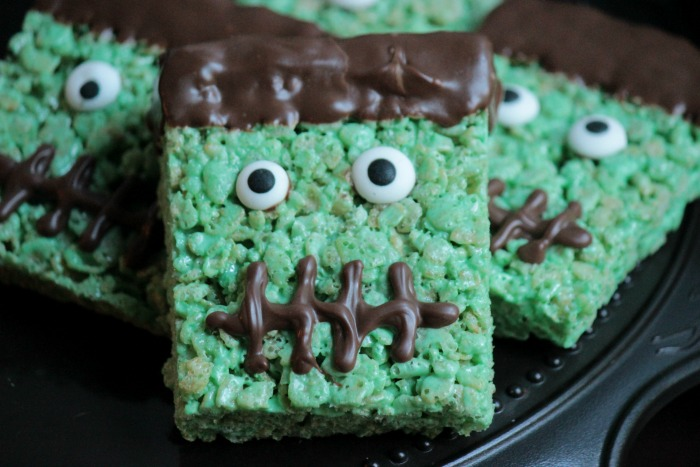 while i may not be into making gross and gory halloween foods i do like to make some things that scream halloween frankenstein rice krispie treats do