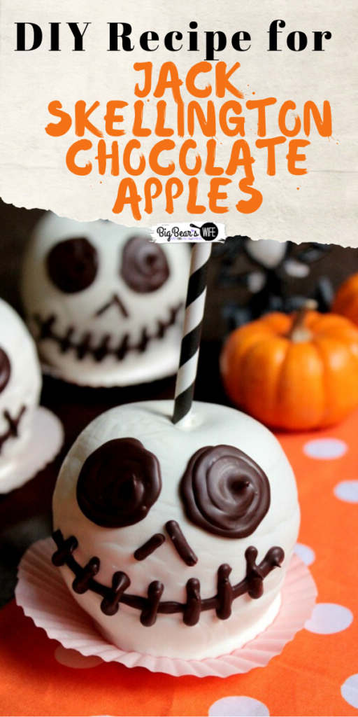 Jack Skellington Chocolate Apples - This Disney Chocolate Apple Inspired Recipe will teach you how to make a Jack Skellington Chocolate Apples like the ones you find at DisneyWorld!
