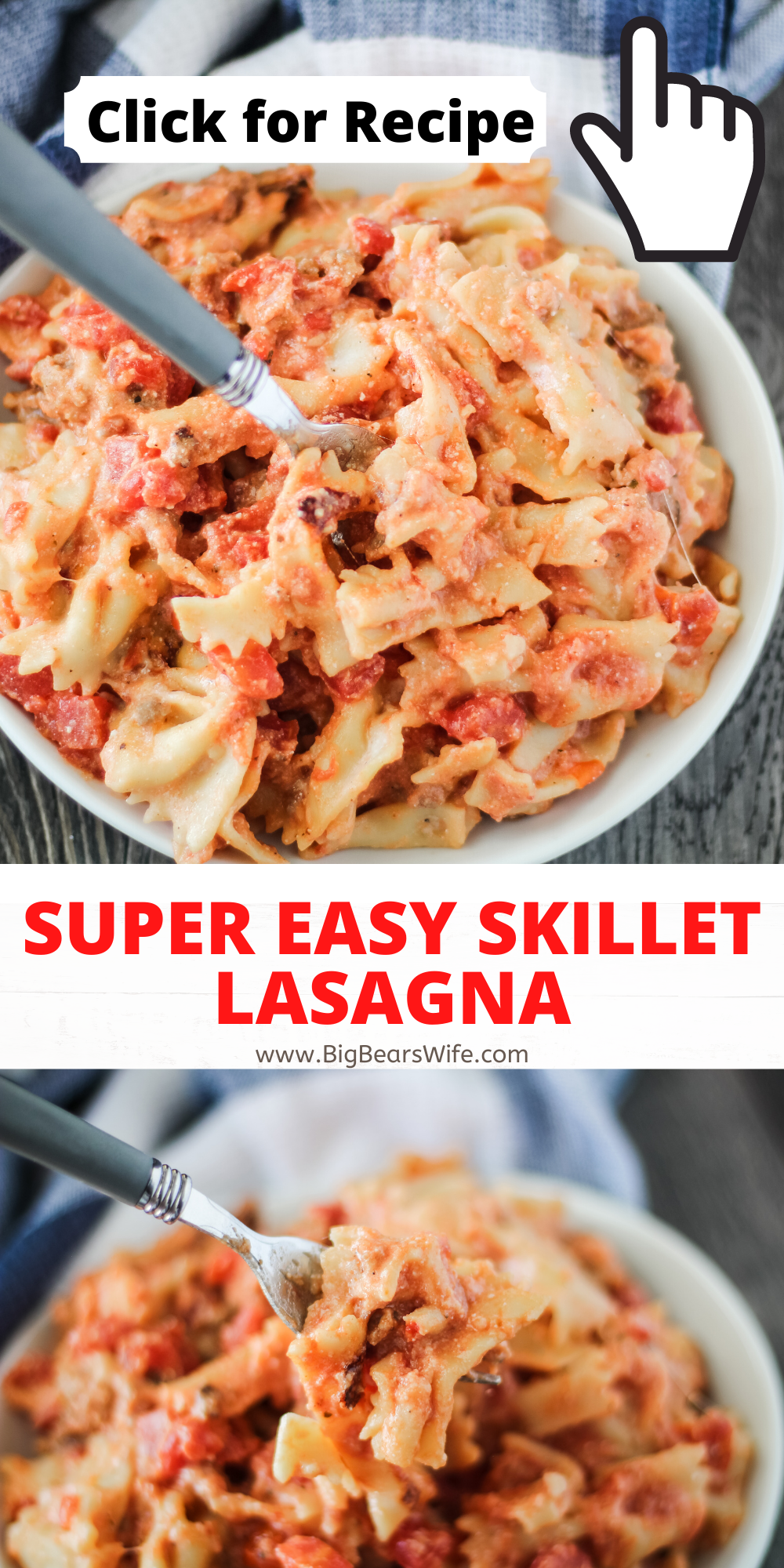 This Super Easy Skillet Lasagna will be a new family favorite and it only takes 30 minutes to make. via @bigbearswife