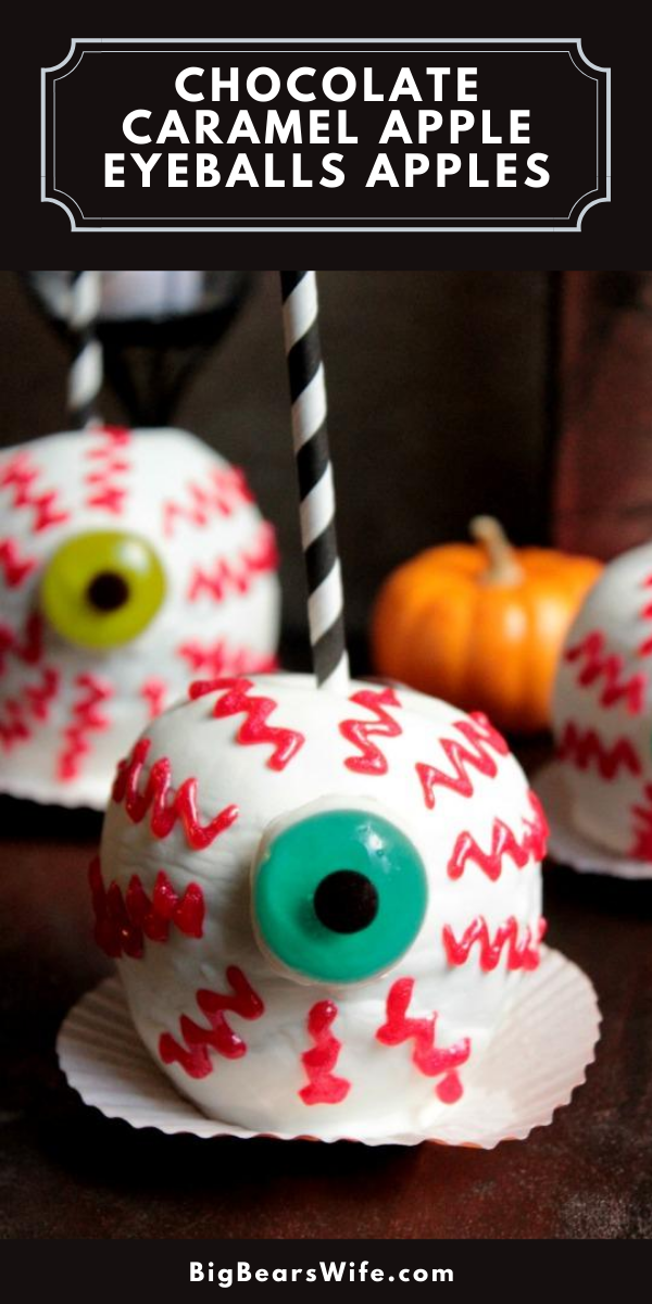Spooky Chocolate Caramel Apple EyeBalls are perfect to make for Halloween parties or as Halloween treats to wrap up and give to family & friends!