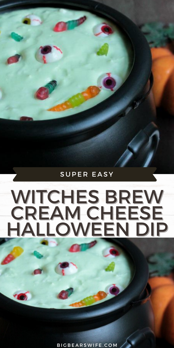 A Halloween dip that is sure to please your little witches! This Witches Brew Cream Cheese Halloween Dip, can be made with any flavor of pudding too! via @bigbearswife