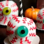 Spooky Chocolate Caramel Apples EyeBalls
