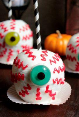 Spooky Chocolate Caramel Apples EyeBalls