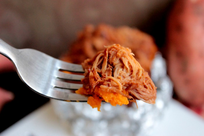 Have a bite of BBQ Pulled Pork Stuffed Sweet Potato