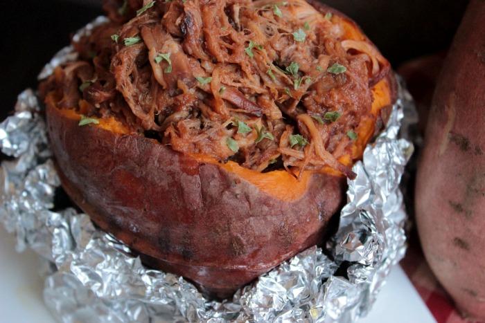 BBQ Pulled Pork Stuffed Sweet Potato