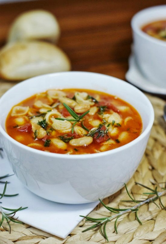 Pasta e Fagioli with Rosemary Olive Oil Drizzle from The Kitchen is my Playground