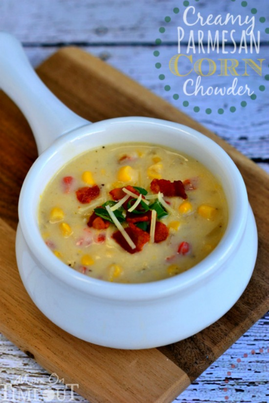 Creamy Parmesan Corn Chowder from Mom on Timeout