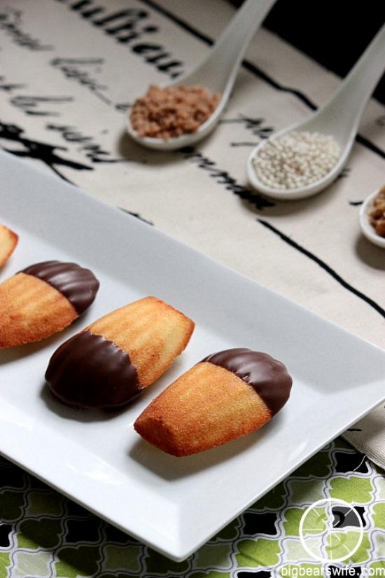 Chocolate Dipped Madeleines from BigBearsWife