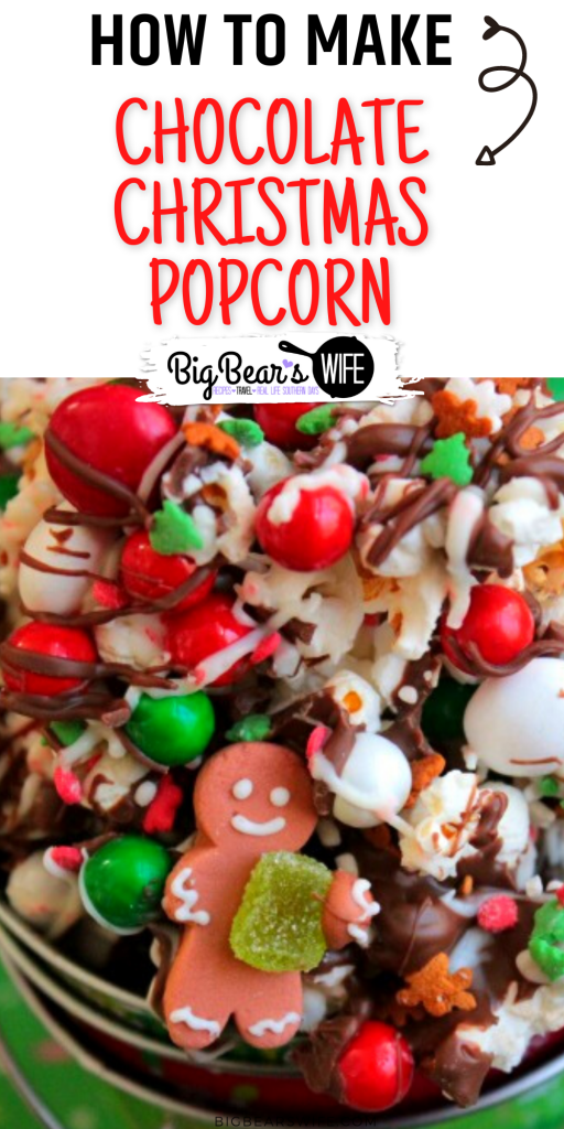 Drizzled with chocolate and sprinkled with chocolate candies and Christmas sprinkles, this Chocolate Christmas popcorn is the perfect festive treat to make at home with the kids or to package up for neighbor gifts!
