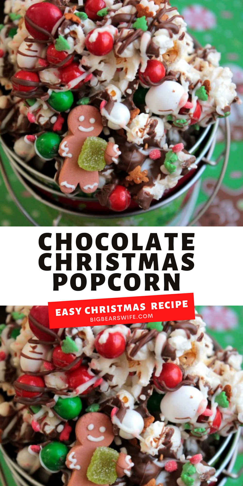 Drizzled with chocolate and sprinkled with chocolate candies and Christmas sprinkles, this Chocolate Christmas popcorn is the perfect festive treat to make at home with the kids or to package up for neighbor gifts! via @bigbearswife