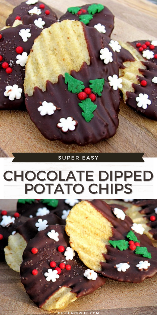 Chocolate Dipped Potato Chips are a super easy treat to make at home! Perfect for Holiday Dessert trays and homemade Christmas gifts!