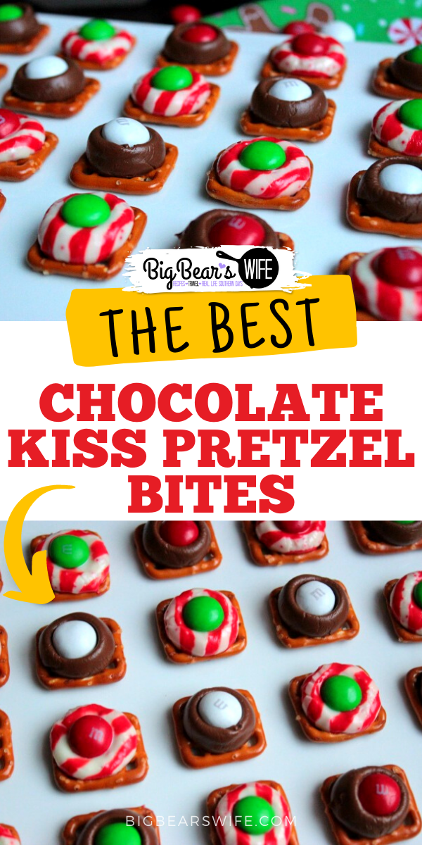 These Chocolate Kiss Pretzel Bites are little pretzel squares that are topped with chocolate kisses, melted in the oven and then topped with sweet chocolate candies! They're the perfect sweet and salty dessert! via @bigbearswife