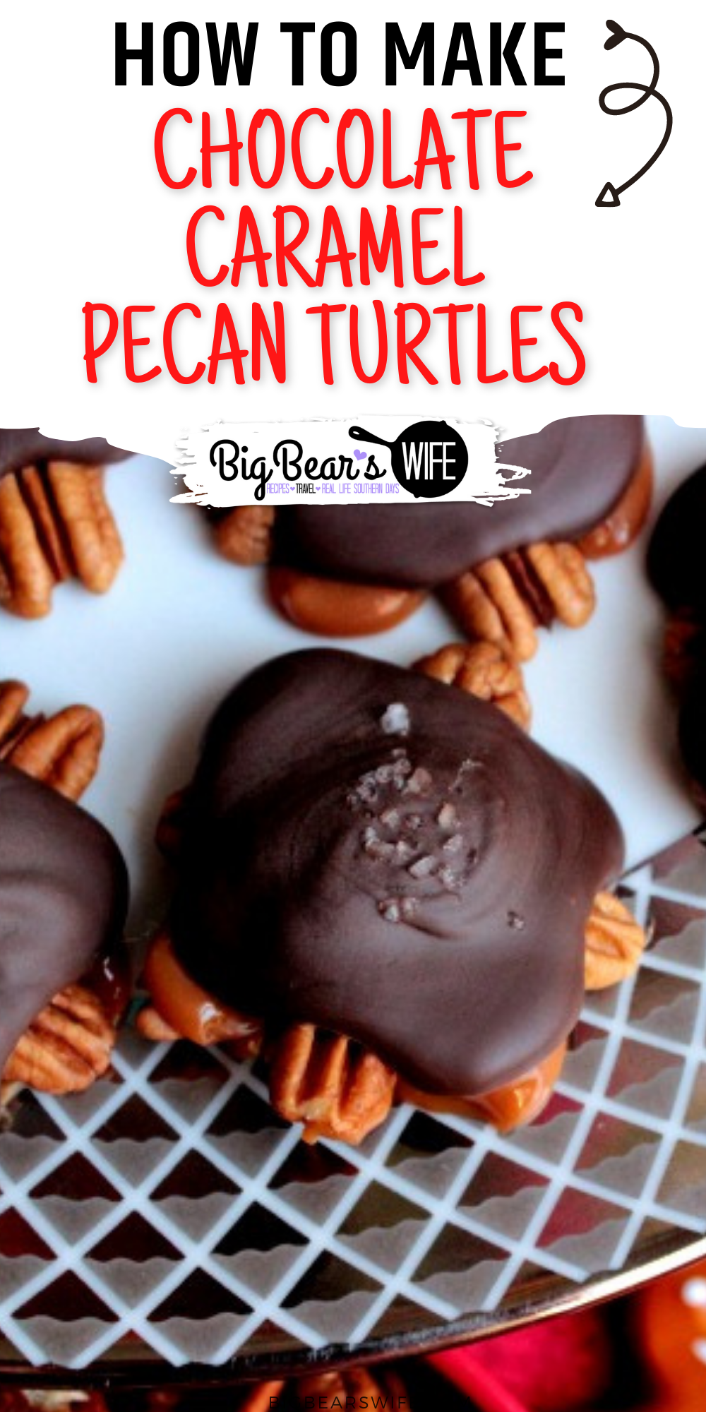 Ready to make Homemade Chocolate and Caramel Pecan Turtles for Christmas? This recipe for Turtles is super easy and they are always a hit for Christmas gifts! Perfect as a Homemade Christmas Gift treat! via @bigbearswife