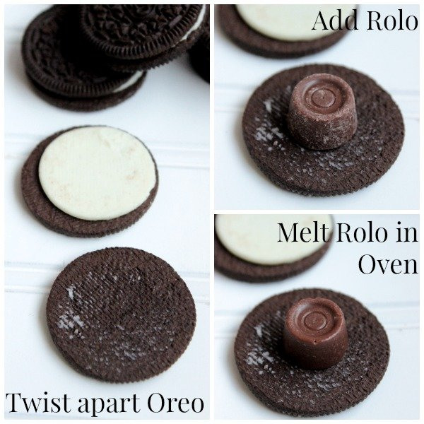 Rolo Stuffed Chocolate Dipped Oreos Steps