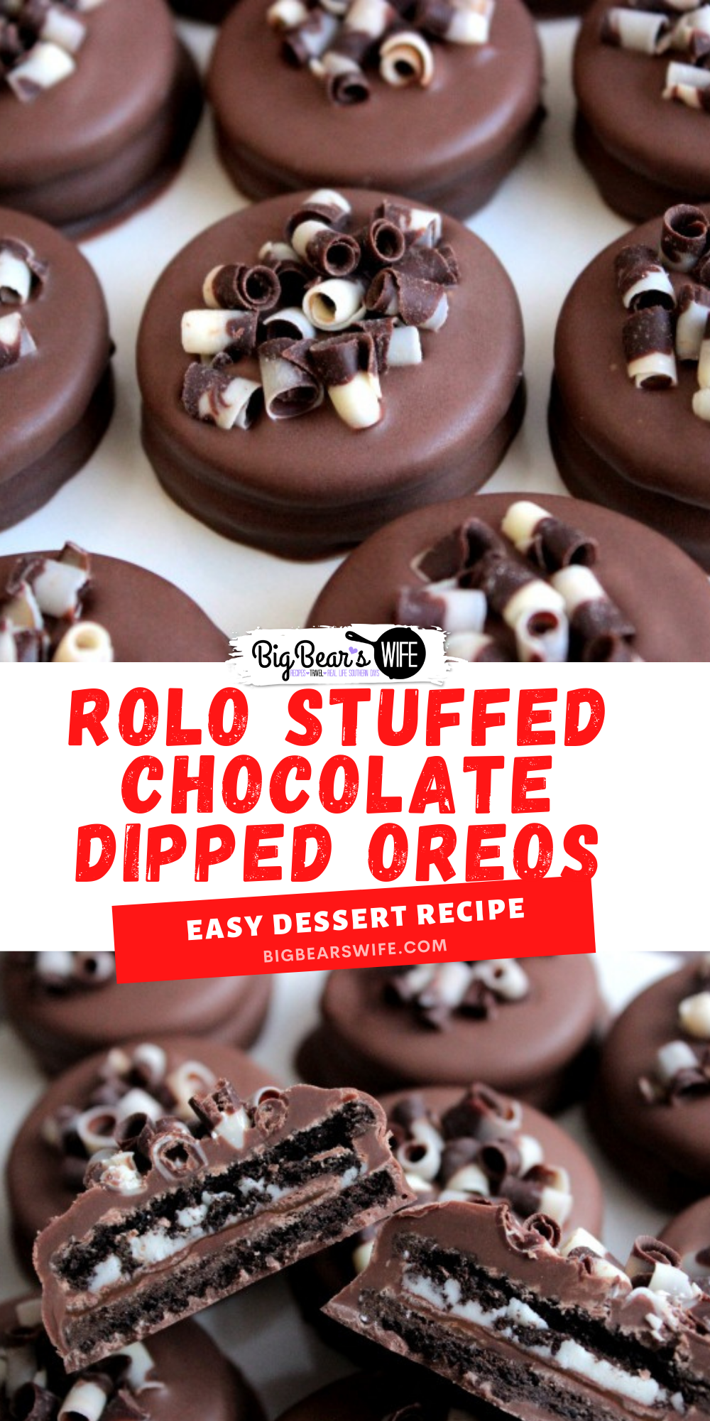 These super easy Rolo Stuffed Chocolate Dipped Oreos are perfect for holiday parties, homemade gifts or just as a sweet treat to have around the house!  via @bigbearswife