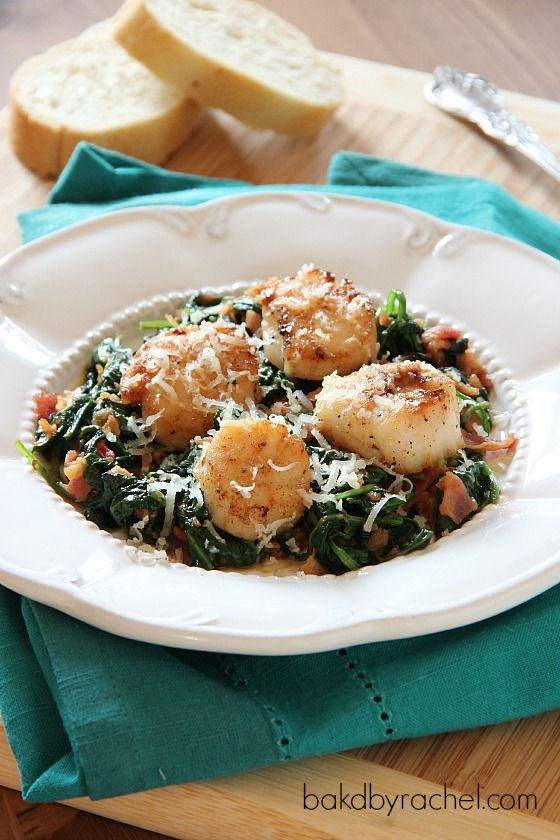 Pan Seared Scallops with Spinach from Baked by Rachel