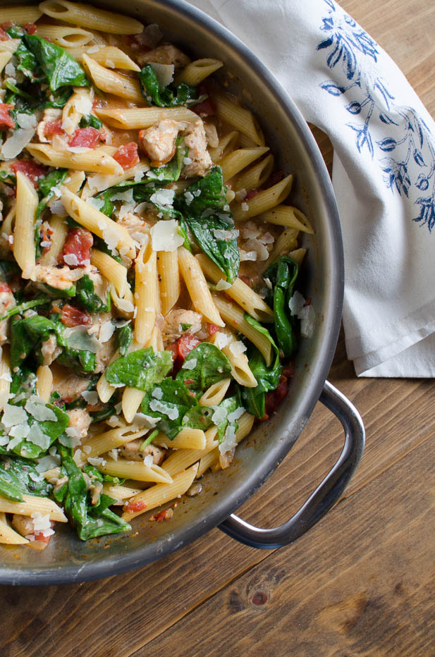 Chicken and Spinach Skillet Pasta From Valerie's Kitchen