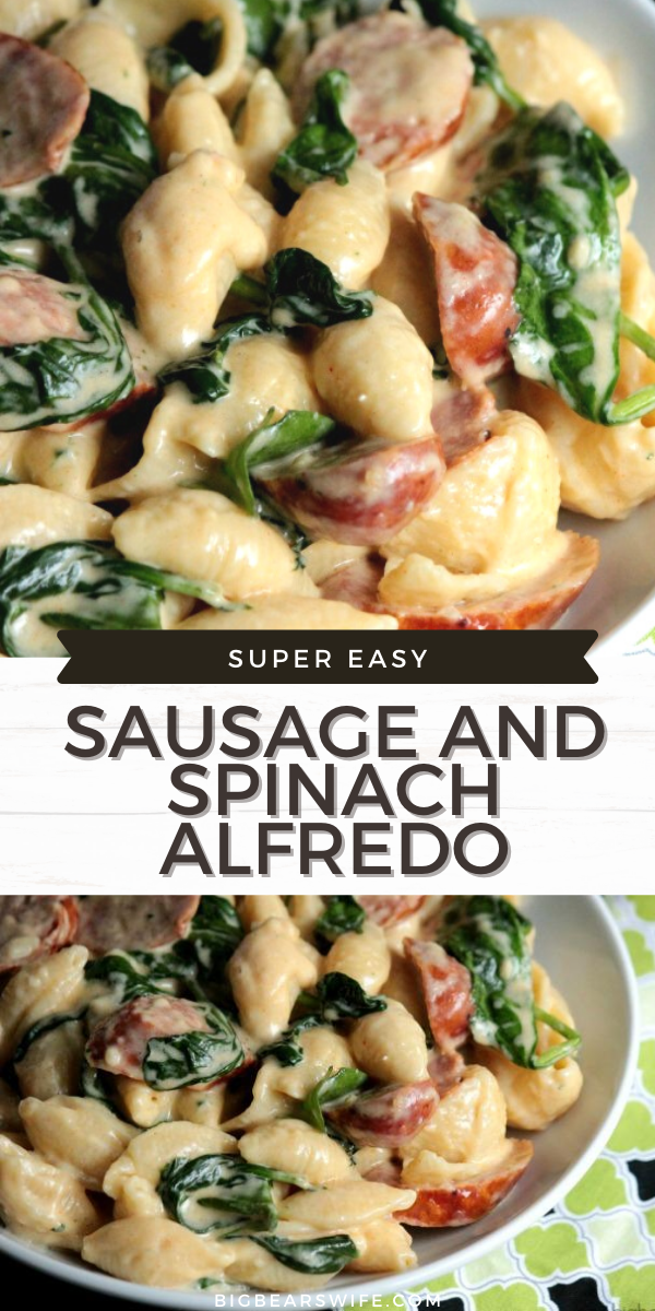 This creamy Sausage and Spinach Alfredo always gets rave reviews when friends and family make it! It's so easy and so delicious!  via @bigbearswife